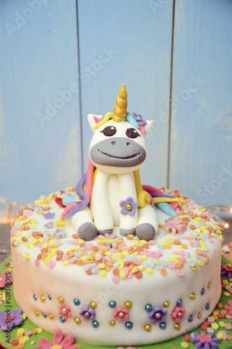 Einhorn Kuchen Torte Fondant Geburtstagstorte Grusskarte