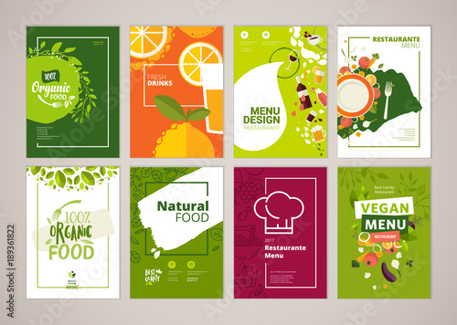 Set of restaurant menu, brochure, flyer design templates in A4 size. Vector illustrations for food and drink marketing material, ads, natural products presentation templates, cover design. - 189361822