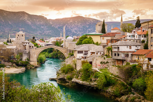 City of Mostar and Neretva River