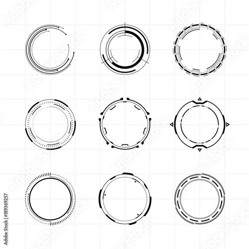 Fotomural  Futuristic Ui Circle Elements Set