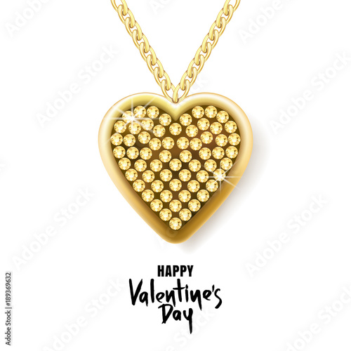 Valentines Day Vector Greeting Card Gold Necklace Chain