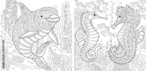 Fototapeta premium Kolorowanka. Kolorowanka dla dorosłych. Podwodny świat oceanów. Delfin wśród wodorostów morskich. Konik morski, ławica ryb tropikalnych. Kolekcja szkiców odręcznych antystresu z elementami doodle i zentangle.