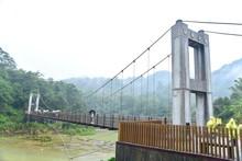 Suspension Bridge Near Shifen Waterfall In Taiwan