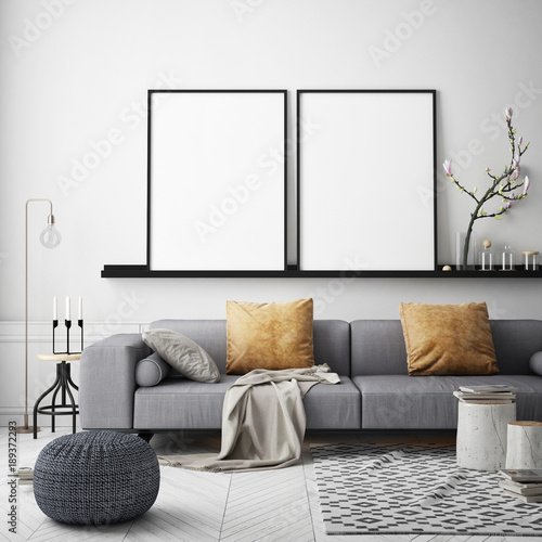 Fotografie, Obraz  mock up poster frame in hipster interior background, Scandinavian style, 3D rend