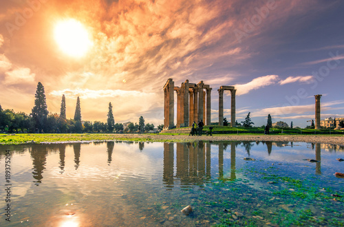The Temple of Olympian Zeus (Greek: Naos tou Olimpiou Dios), also known as the Olympieion, Athens, Greece Canvas Print