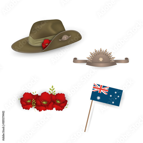 Photo Set of australian flag, Anzac australian army slouch hat with red poppy, Decorative anzac poppies flowers isolated
