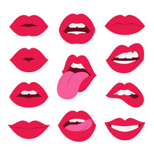 Red Lips Collection. Vector Il...