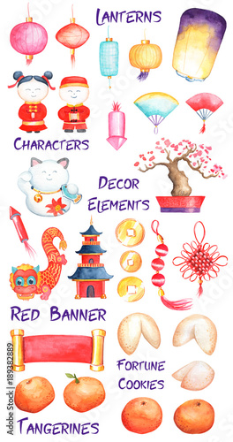 Chinese New Year Watercolor Clipart On White Background Lunar New