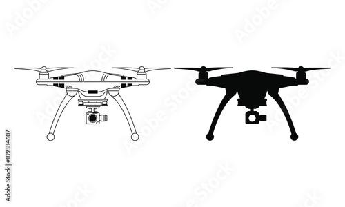 Fotografie, Obraz  Drone silhouette vector flying copter