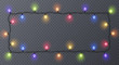 Set of color garlands, festive decorations. Glowing christmas lights isolated on transparent background. Frame with space for text. Vector illustration
