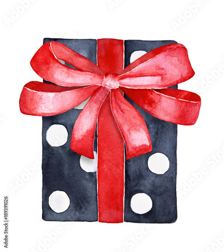 Holiday gift box, black and white contrast paper with spots and red satin ribbon decoration Wallpaper Mural