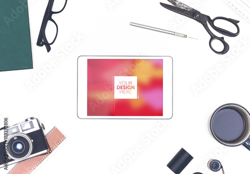 Top View Tablet Mockup With Film Photography Elements 2
