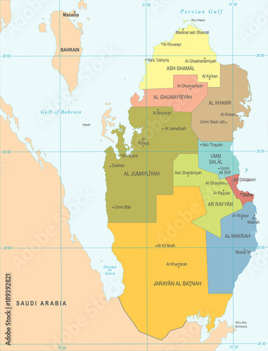 Qatar Map - Detailed Vector Illustration - Buy this stock ...