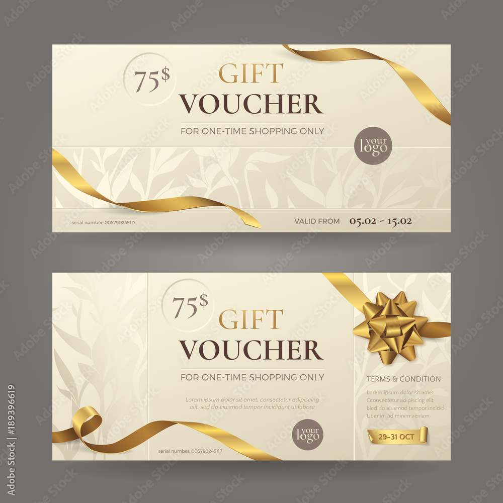 Fototapety, obrazy: Set of stylish gift voucher with golden ribbons, a bow and floral patterns. Vector elegant  template for gift card, coupon and certificate with beige background. Isolated from the background.