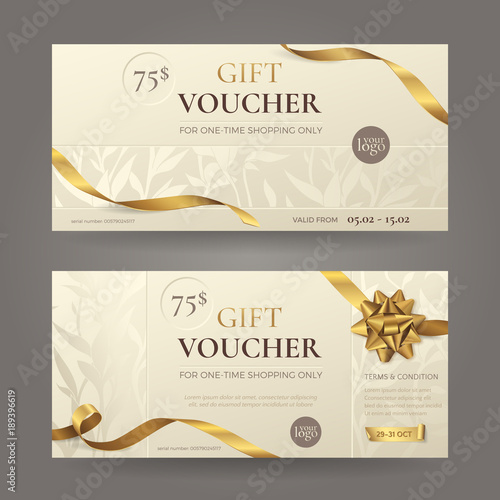 Fotografía  Set of stylish gift voucher with golden ribbons, a bow and floral patterns