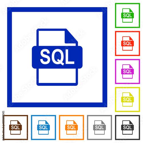 Fotografie, Obraz  SQL file format flat framed icons