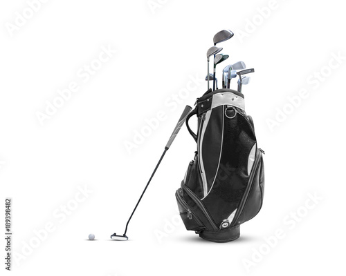 Poster Golf Golf bag ,golf ball and face balanced putter with Super Stroke putter grip isolated on white background