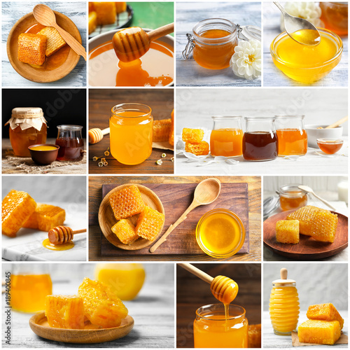 Collage with fresh sweet honey © Africa Studio