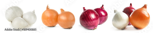 Photo  Ripe onions on white background