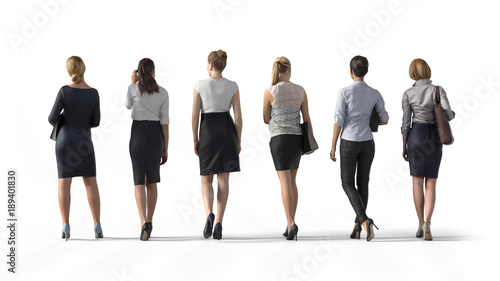 Obraz Back view of standing business woman. Illustration on white background, 3d rendering isolated. - fototapety do salonu