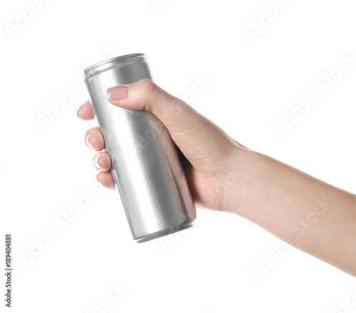 Woman holding aluminum can on white background