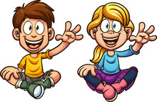 Cartoon Boy And Girl Sitting And Waving, Looking Front. Vector Clip Art Illustration With Simple Gradients. Each On A Separate Layer.
