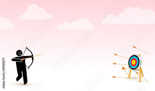 Failing to hit the target  Vector illustration depicts