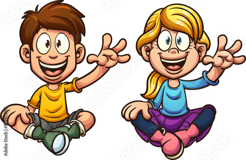 Fotografie, Obraz  Cartoon boy and girl sitting and waving, looking front