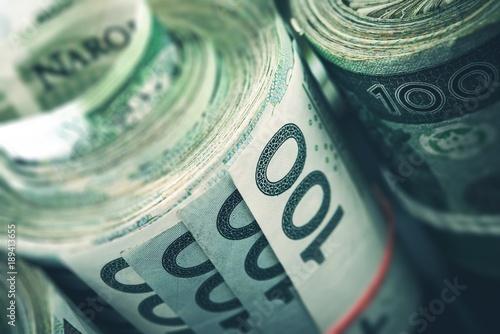 Obraz na płótnie Rolled Polish Zloty Banknotes