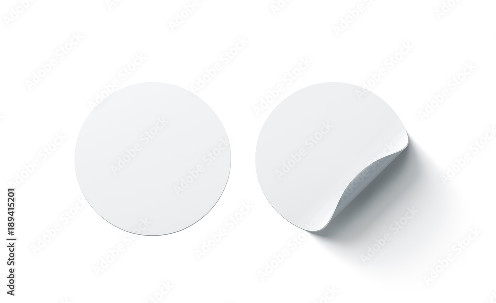 Fototapety, obrazy: Blank white round adhesive stickers mock up with curved corner, 3d rendering. Empty circle sticky label mockup with curl. Clear adherent tag template for glass door or wall.