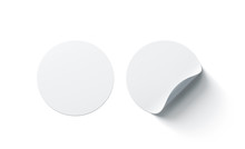 Blank White Round Adhesive Stickers Mock Up With Curved Corner, 3d Rendering. Empty Circle Sticky Label Mockup With Curl. Clear Adherent Tag Template For Glass Door Or Wall.