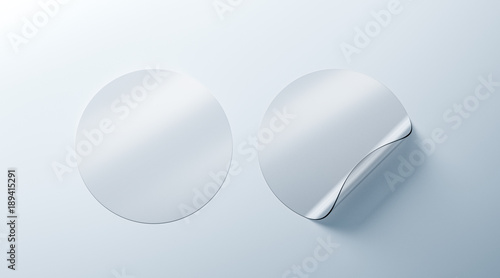 Fényképezés  Blank white transparent round adhesive stickers mockup with curved corner, 3d rendering