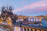 Fototapeta Fototapety Paryż - The Alexander III Bridge across Seine river in Paris, France
