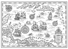 Pirate Map Of The Caribbean Se...