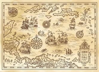 Drevna gusarska karta Karipskog mora s brodovima, otocima i maštarskim bićima. Gusarske avanture, potraga za blagom i stari koncept prijevoza. Ručno nacrtana vektorska ilustracija, vintage pozadina