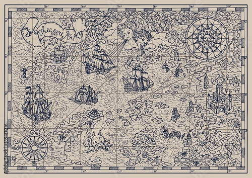 Pirate map with mythological creatures, old vessels, compass and treasure islands. Pirate adventures, treasure hunt and old transportation concept. Hand drawn vector illustration, vintage background