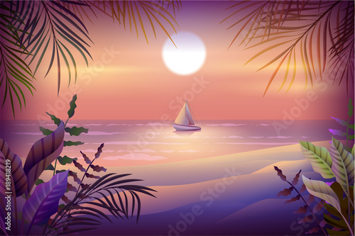 Night landscape of tropical island. Palm trees, beach, sea and sailboat