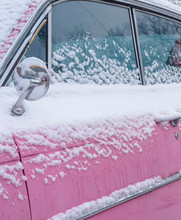 Pink Classic Car Covered In Sn...