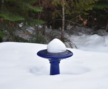 Blue Birdbath With Snow On Top