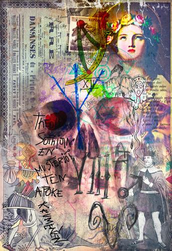 Foto op Aluminium Imagination Murales,collage e graffiti con teschio e simboli astrologici,alchemici ed esoterici