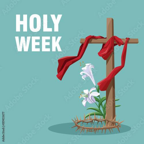 Holy week catholic tradition icon vector illustration graphic design Obraz na płótnie