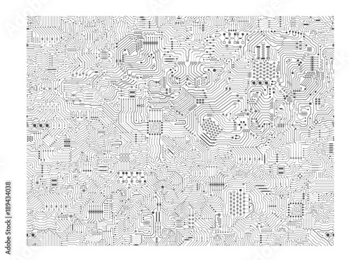 Fotografiet  seamless circuit pattern or circuit board background vector illustration