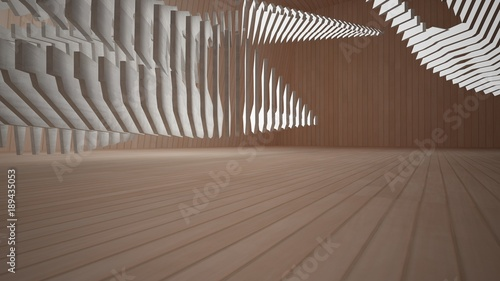 Abstract concrete and wood interior with neon lighting. 3d