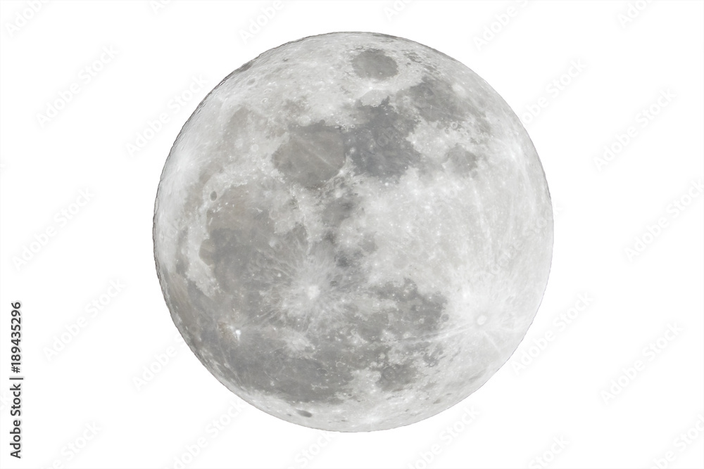 Fototapety, obrazy: Full moon isolated over white background