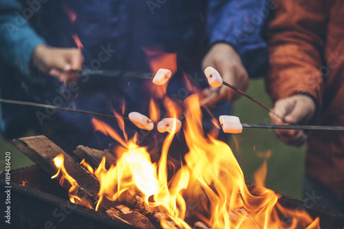 Spoed Foto op Canvas Kamperen Hands of friends roasting marshmallows over the fire in a grill closeup