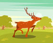 Spotted deer with antlers, wild animal amongst a backdrop of green meadow and forest vector Illustration