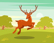 Brown spotted deer with antlers running, wild animal amongst a backdrop of green meadow and forest vector Illustration