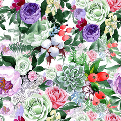 Panel Szklany Ogrody Bouquet flower pattern in a watercolor style. Full name of the plant: rose, hulthemia, rosa. Aquarelle wild flower for background, texture, wrapper pattern, frame or border.