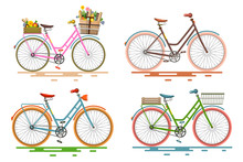 Bicycles Set. Retro Vector Bik...