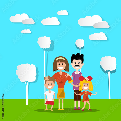 People in Nature. Hapy Family with Paper Cut Flat Design Trees and Clouds. Vector Landscape.